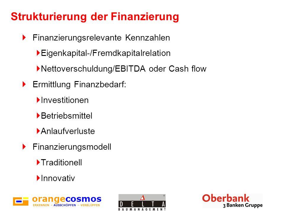 orangecosmos ERKENNEN – AUSSCHÖPFEN – VERBLÜFFEN Strukturierung der Finanzierung Finanzierungsrelevante Kennzahlen Eigenkapital-/Fremdkapitalrelation