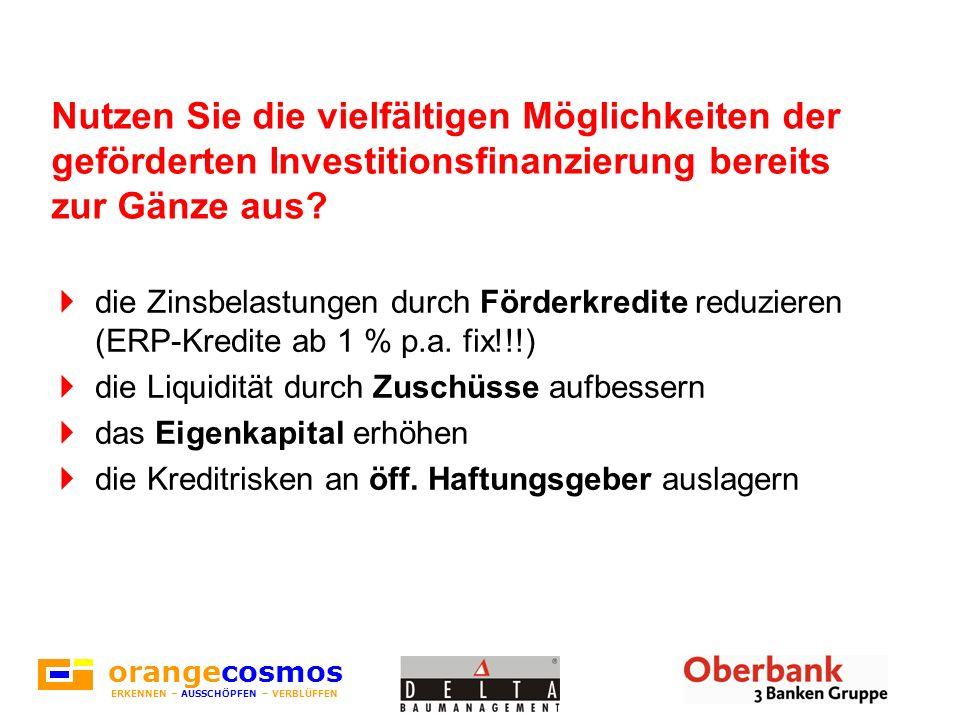 Nutzen Sie die vielfältigen Möglichkeiten der geförderten Investitionsfinanzierung bereits zur Gänze aus? die Zinsbelastungen durch Förderkredite redu