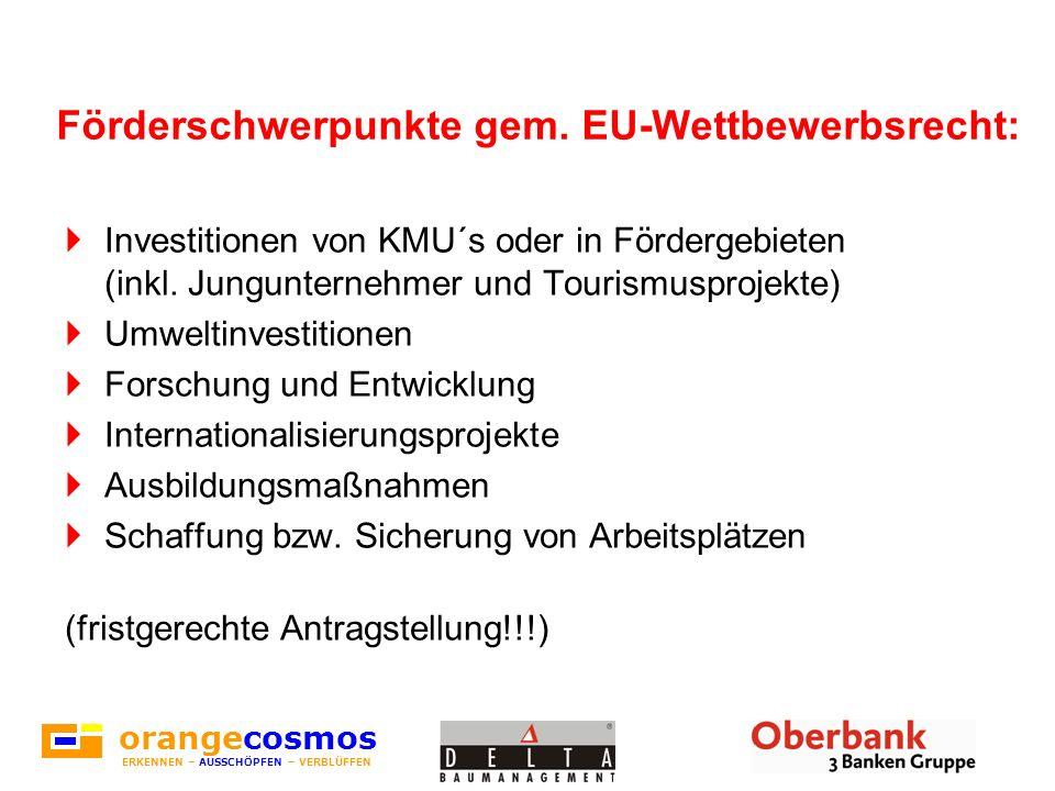 Förderschwerpunkte gem. EU-Wettbewerbsrecht: Investitionen von KMU´s oder in Fördergebieten (inkl. Jungunternehmer und Tourismusprojekte) Umweltinvest