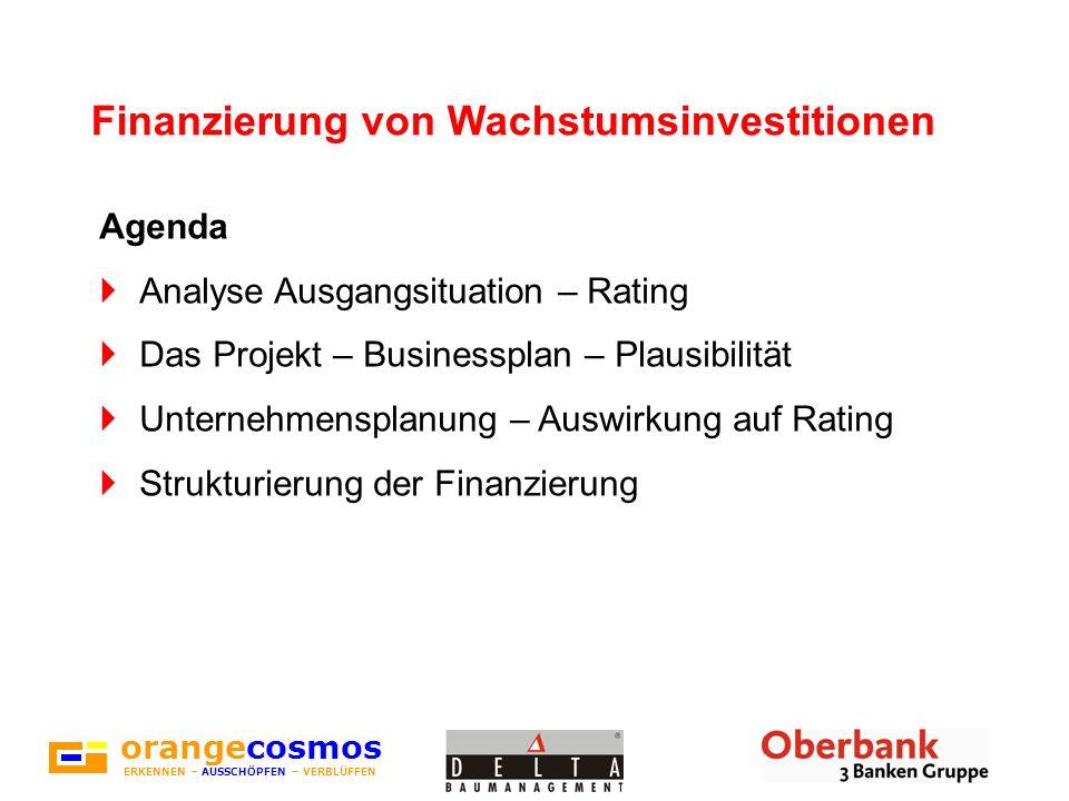 orangecosmos ERKENNEN – AUSSCHÖPFEN – VERBLÜFFEN Finanzierung von Wachstumsinvestitionen Agenda Analyse Ausgangsituation – Rating Das Projekt – Busine