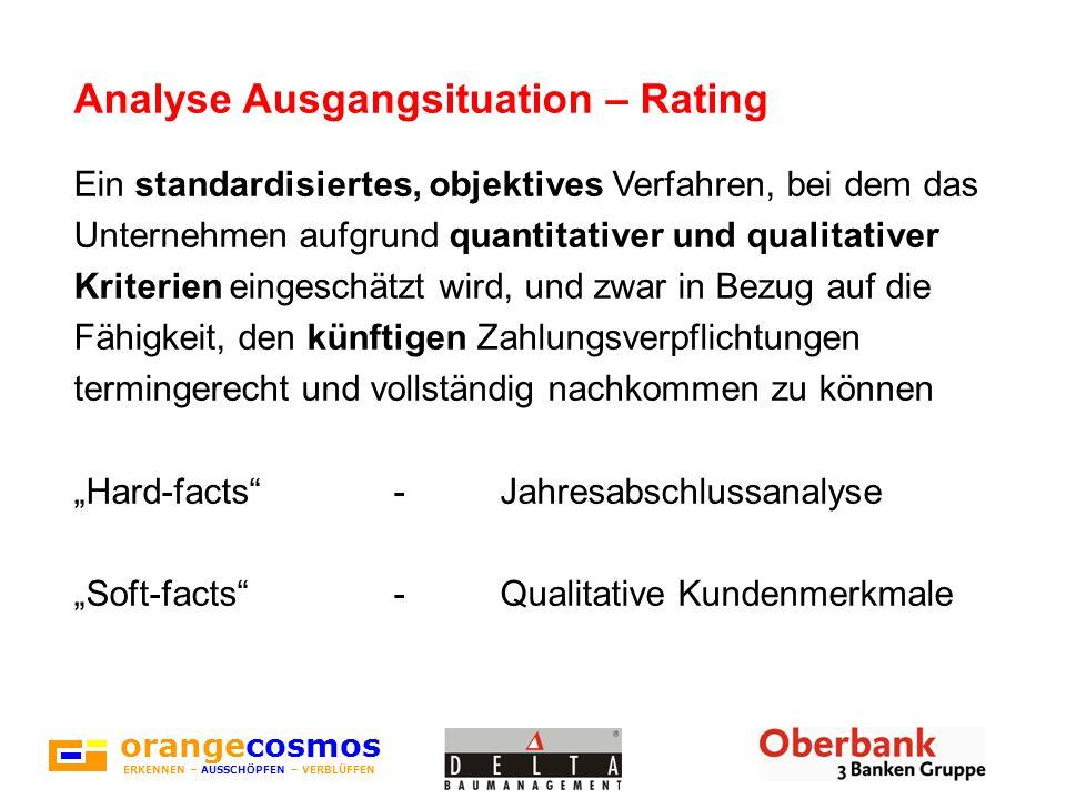 orangecosmos ERKENNEN – AUSSCHÖPFEN – VERBLÜFFEN Analyse Ausgangsituation – Rating Ein standardisiertes, objektives Verfahren, bei dem das Unternehmen