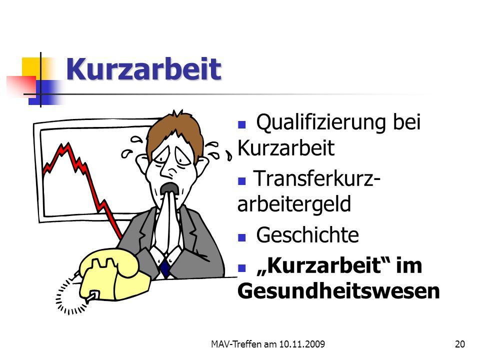 MAV-Treffen am 10.11.200920 Kurzarbeit Qualifizierung bei Kurzarbeit Transferkurz- arbeitergeld Geschichte Kurzarbeit im Gesundheitswesen