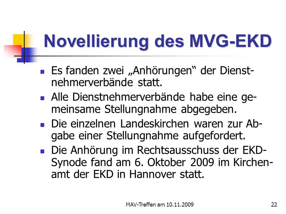 MAV-Treffen am 10.11.200922 Novellierung des MVG-EKD Es fanden zwei Anhörungen der Dienst- nehmerverbände statt. Alle Dienstnehmerverbände habe eine g