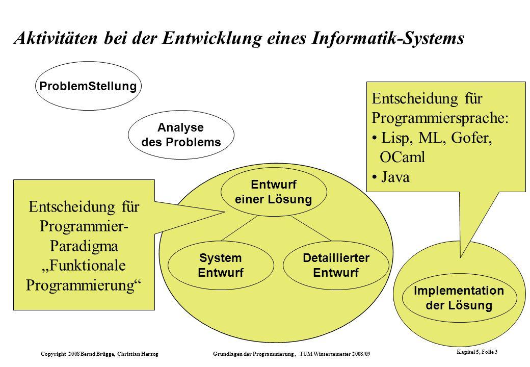 Copyright 2008 Bernd Brügge, Christian Herzog Grundlagen der Programmierung, TUM Wintersemester 2008/09 Kapitel 5, Folie 3 Entscheidung für Programmie