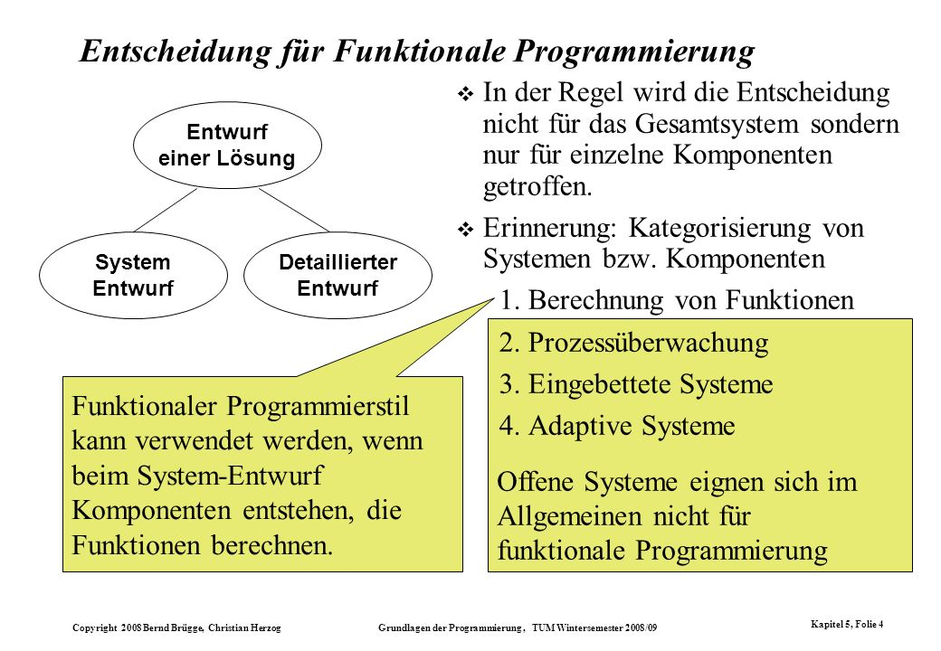 Copyright 2008 Bernd Brügge, Christian Herzog Grundlagen der Programmierung, TUM Wintersemester 2008/09 Kapitel 5, Folie 4 Offene Systeme eignen sich