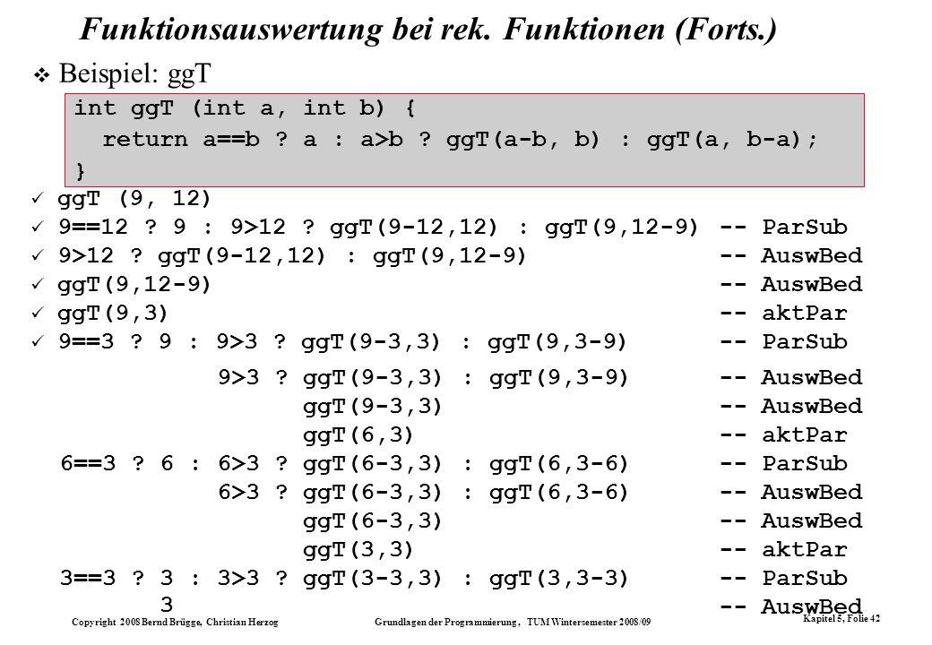 Copyright 2008 Bernd Brügge, Christian Herzog Grundlagen der Programmierung, TUM Wintersemester 2008/09 Kapitel 5, Folie 42 Funktionsauswertung bei re