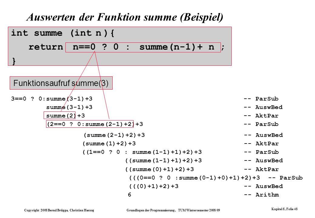 Copyright 2008 Bernd Brügge, Christian Herzog Grundlagen der Programmierung, TUM Wintersemester 2008/09 Kapitel 5, Folie 48 Auswerten der Funktion sum