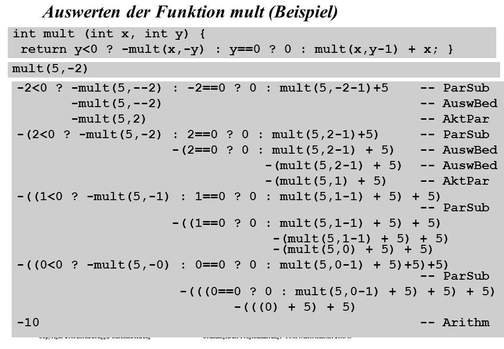 Copyright 2008 Bernd Brügge, Christian Herzog Grundlagen der Programmierung, TUM Wintersemester 2008/09 Kapitel 5, Folie 52 Auswerten der Funktion mul
