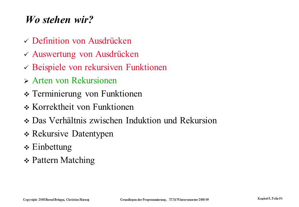 Copyright 2008 Bernd Brügge, Christian Herzog Grundlagen der Programmierung, TUM Wintersemester 2008/09 Kapitel 5, Folie 54 Wo stehen wir? Definition