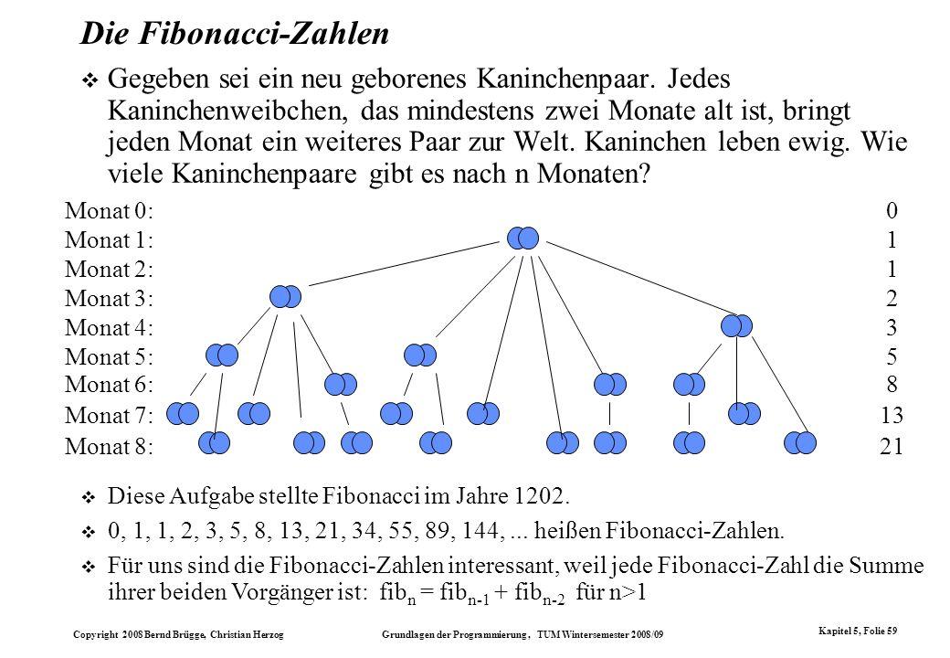 Copyright 2008 Bernd Brügge, Christian Herzog Grundlagen der Programmierung, TUM Wintersemester 2008/09 Kapitel 5, Folie 59 Die Fibonacci-Zahlen Gegeb