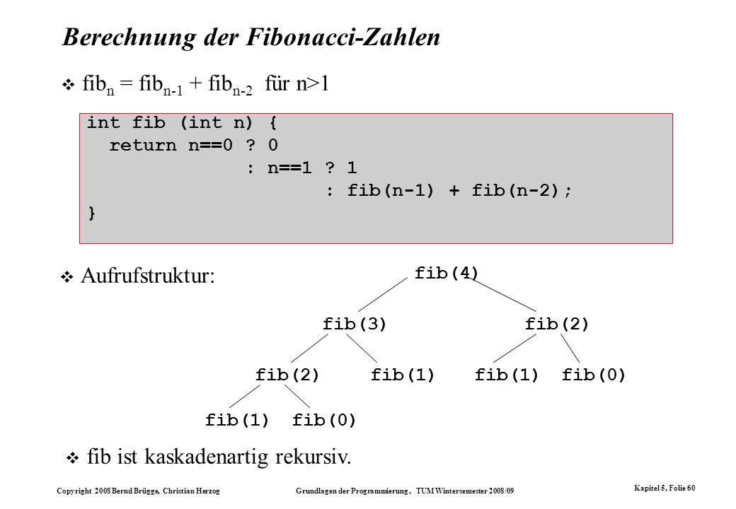Copyright 2008 Bernd Brügge, Christian Herzog Grundlagen der Programmierung, TUM Wintersemester 2008/09 Kapitel 5, Folie 60 Berechnung der Fibonacci-Z