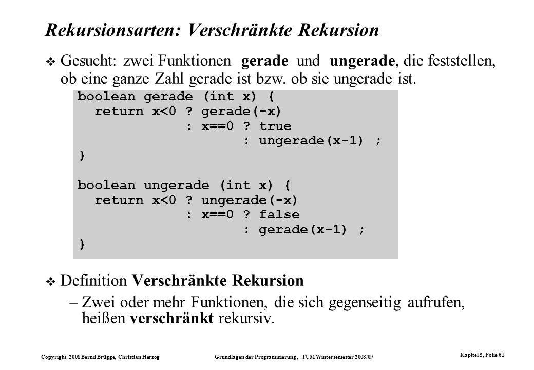 Copyright 2008 Bernd Brügge, Christian Herzog Grundlagen der Programmierung, TUM Wintersemester 2008/09 Kapitel 5, Folie 61 Rekursionsarten: Verschrän