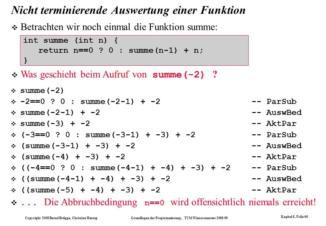 Copyright 2008 Bernd Brügge, Christian Herzog Grundlagen der Programmierung, TUM Wintersemester 2008/09 Kapitel 5, Folie 66 Nicht terminierende Auswer