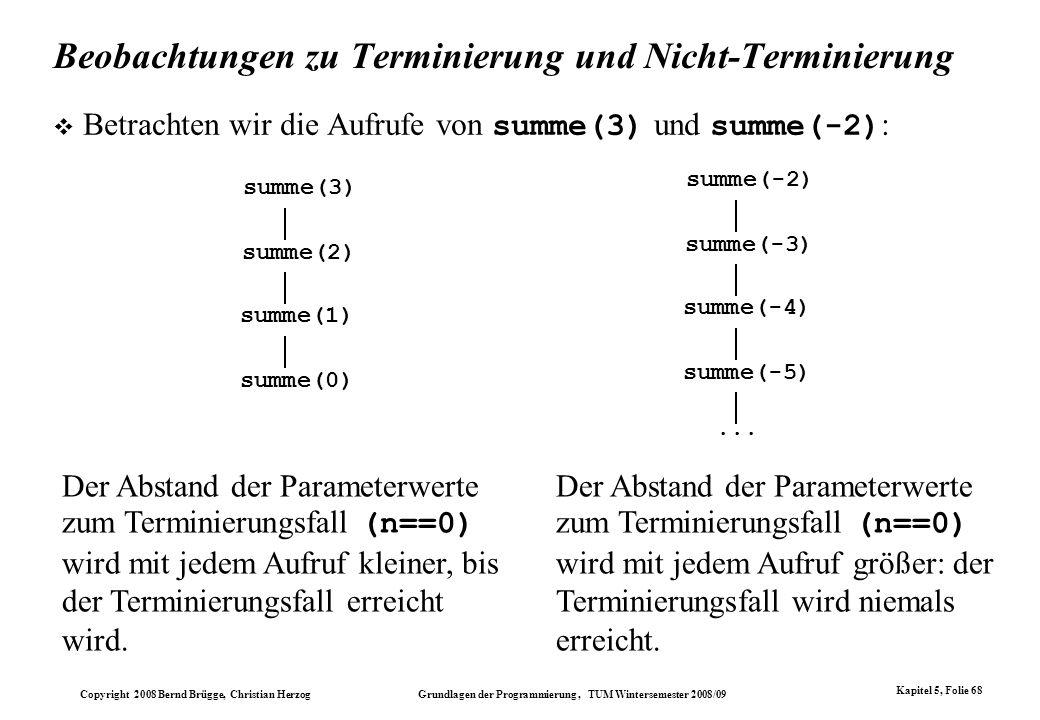 Copyright 2008 Bernd Brügge, Christian Herzog Grundlagen der Programmierung, TUM Wintersemester 2008/09 Kapitel 5, Folie 68 Beobachtungen zu Terminier