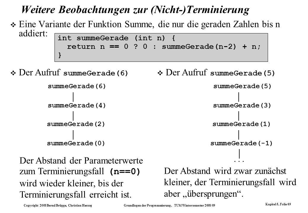 Copyright 2008 Bernd Brügge, Christian Herzog Grundlagen der Programmierung, TUM Wintersemester 2008/09 Kapitel 5, Folie 69 Weitere Beobachtungen zur