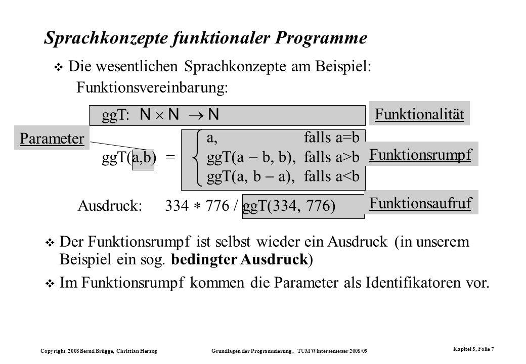 Copyright 2008 Bernd Brügge, Christian Herzog Grundlagen der Programmierung, TUM Wintersemester 2008/09 Kapitel 5, Folie 7 Funktionsaufruf Funktionsru