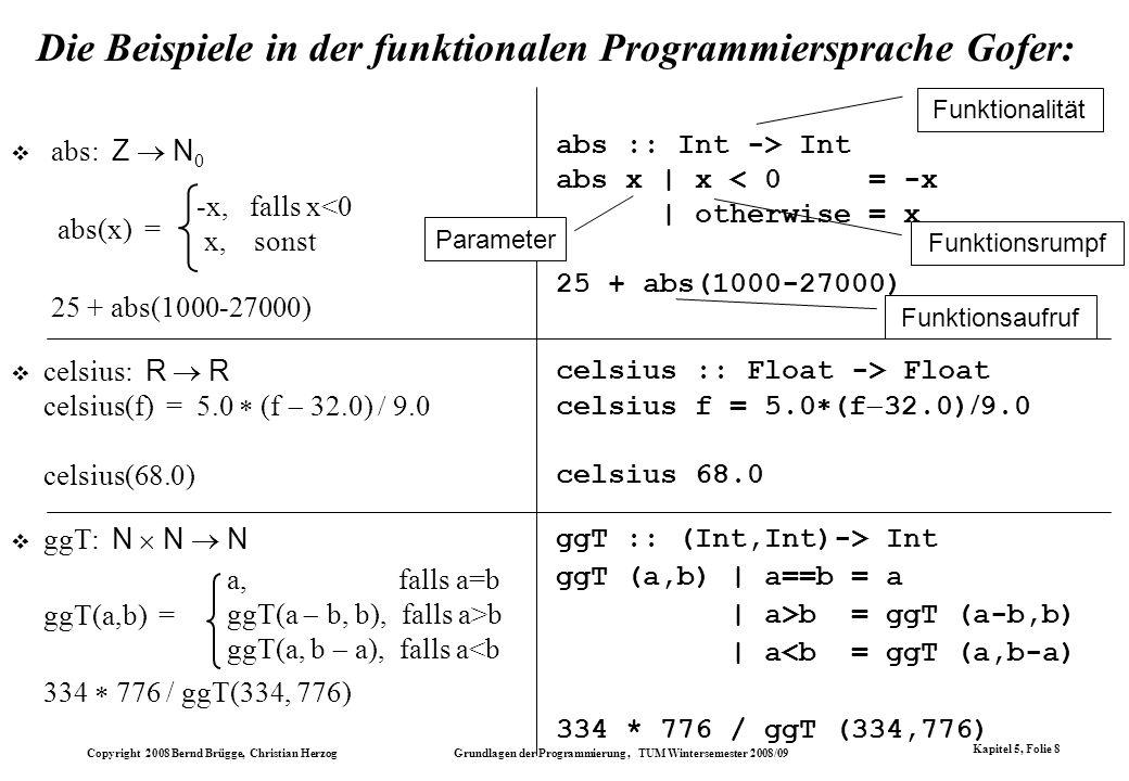 Copyright 2008 Bernd Brügge, Christian Herzog Grundlagen der Programmierung, TUM Wintersemester 2008/09 Kapitel 5, Folie 8 Die Beispiele in der funkti