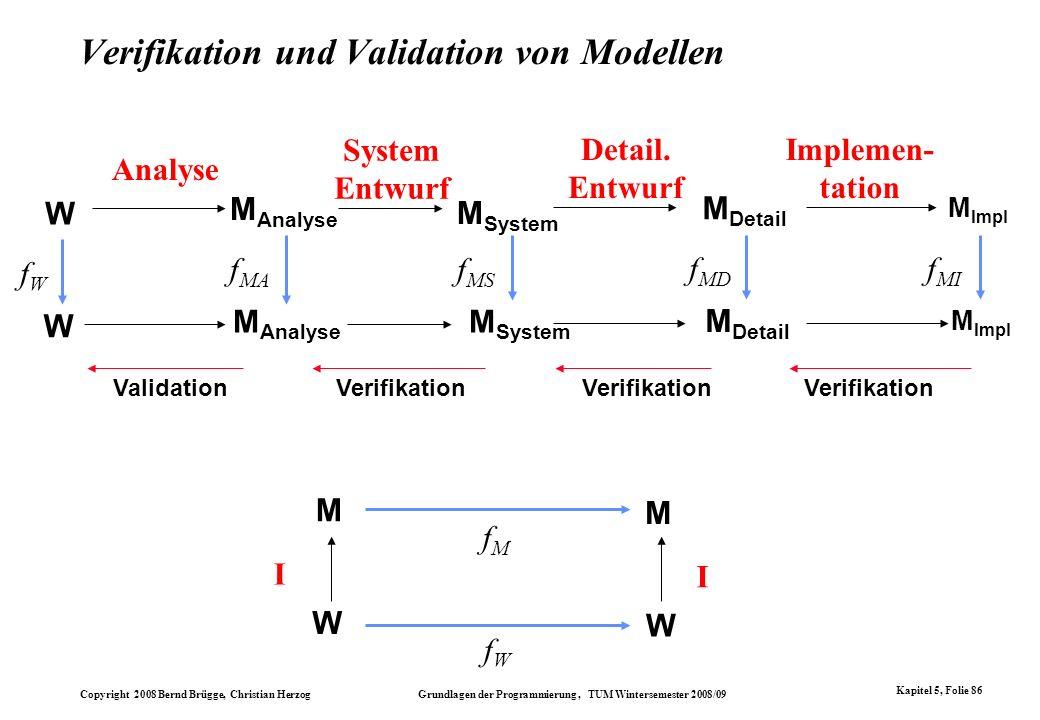 Copyright 2008 Bernd Brügge, Christian Herzog Grundlagen der Programmierung, TUM Wintersemester 2008/09 Kapitel 5, Folie 86 Verifikation und Validatio