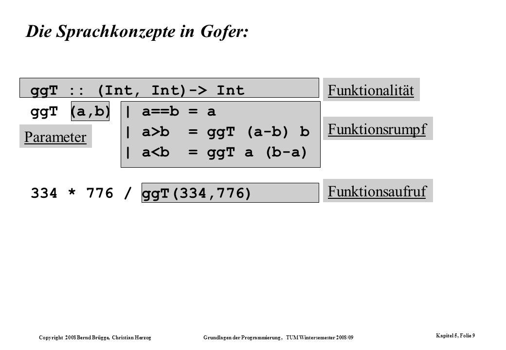 Copyright 2008 Bernd Brügge, Christian Herzog Grundlagen der Programmierung, TUM Wintersemester 2008/09 Kapitel 5, Folie 9 Parameter Funktionsaufruf F
