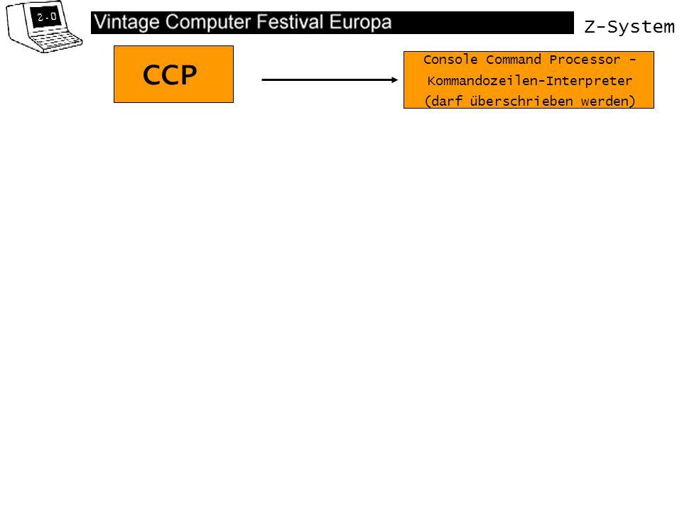 Z-System Virtuelles BIOS Modernes Z-System mit ZCPR34 BDOS CCP BIOS ZCPR34 Kommandoprozessor + Environmentdescriptor Remote Control Package (Nachladbare Kommandos) Flow Command Processor (IF THEN ELSE ENDIF) Named Directory (Benannte Verzeichnisse, dynamisch ladbar) zum Beispiel EASE.COM Variierbarer RCP Variierbarer FCP ZCPR NDR ERROR SHELL ZCPR CCP