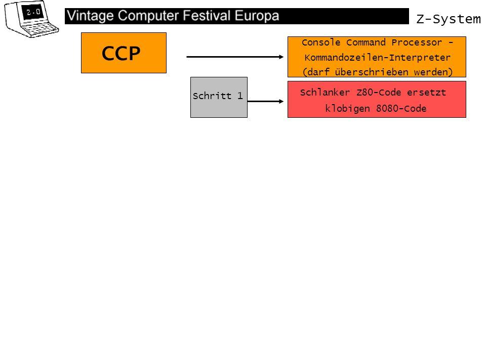 Z-System CCP Schlanker Z80-Code ersetzt klobigen 8080-Code Console Command Processor - Kommandozeilen-Interpreter (darf überschrieben werden) Schritt 1 Schritt 2 Neue Befehle Konditionale Flußkontrolle