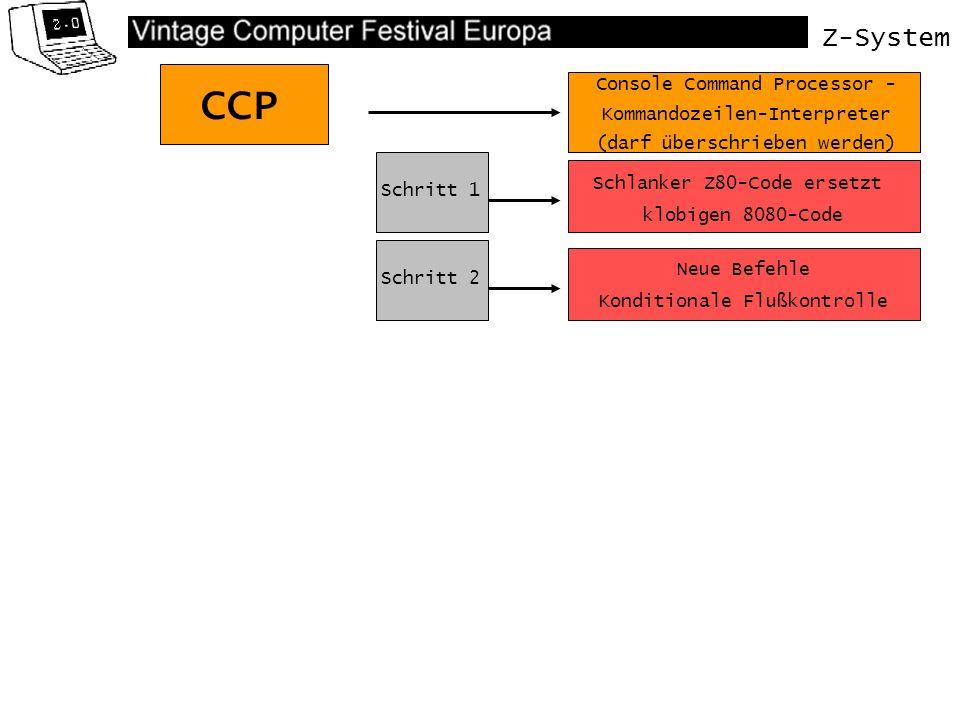 Z-System CCP Schlanker Z80-Code ersetzt klobigen 8080-Code Console Command Processor - Kommandozeilen-Interpreter (darf überschrieben werden) Schritt 1 Schritt 2 Schritt 3 Neue Befehle Konditionale Flußkontrolle Sicherheitsmechanismen (Wheel-Byte)
