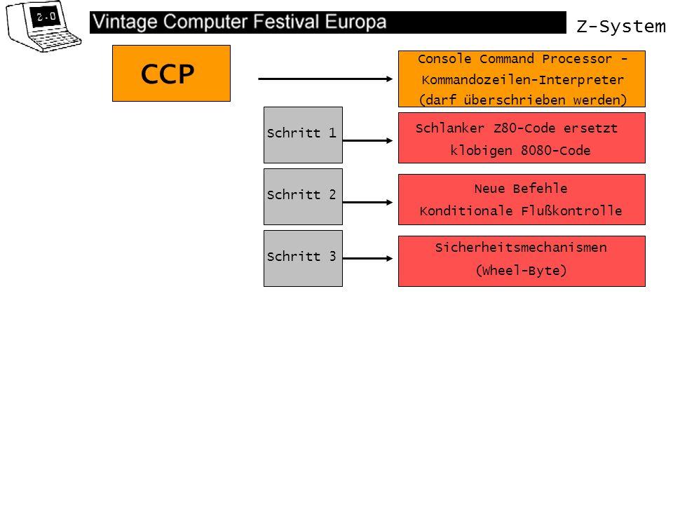 Z-System Mit dem externen Befehl SAVE.COM kann dieser TERMCAP- Eintrag aus dem Speicher gesichert werden.