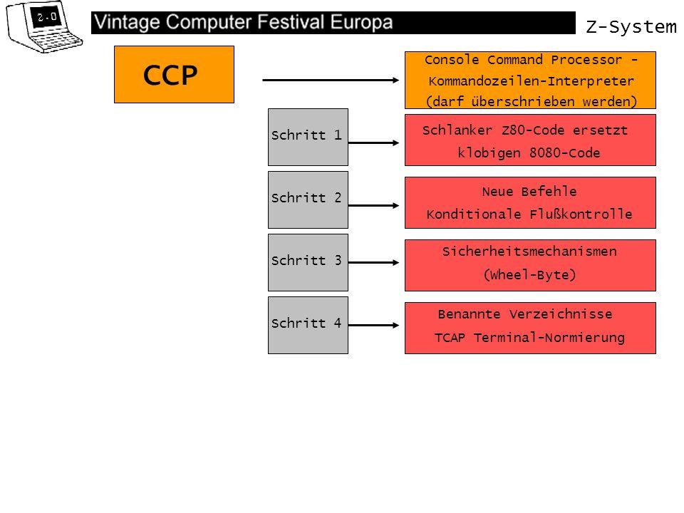 Z-System CCP Schlanker Z80-Code ersetzt klobigen 8080-Code Console Command Processor - Kommandozeilen-Interpreter (darf überschrieben werden) Schritt 1 Schritt 2 Schritt 3 Neue Befehle Konditionale Flußkontrolle Sicherheitsmechanismen (Wheel-Byte) Schritt 4 Benannte Verzeichnisse TCAP Terminal-Normierung