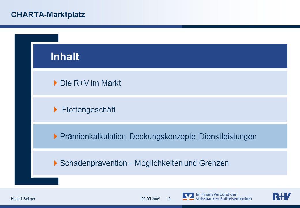 Harald Seliger1005.05.2009 CHARTA-Marktplatz Inhalt Die R+V im Markt Flottengeschäft Prämienkalkulation, Deckungskonzepte, Dienstleistungen Schadenprä