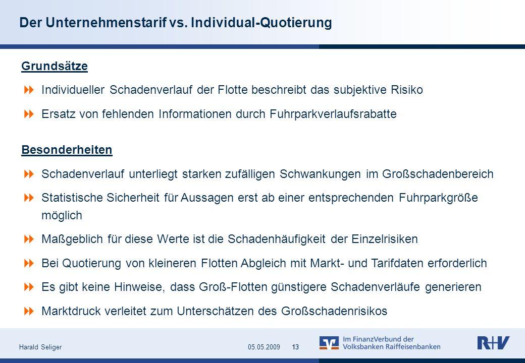 Harald Seliger1305.05.200913 Der Unternehmenstarif vs. Individual-Quotierung Grundsätze Individueller Schadenverlauf der Flotte beschreibt das subjekt