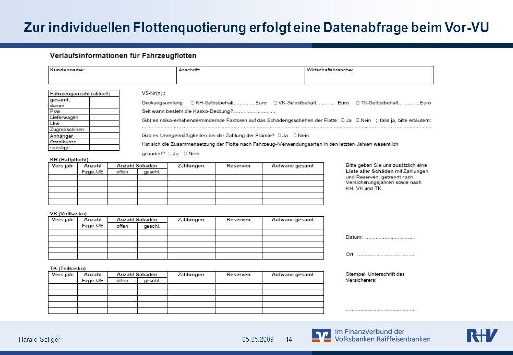 Harald Seliger1405.05.200914 Zur individuellen Flottenquotierung erfolgt eine Datenabfrage beim Vor-VU