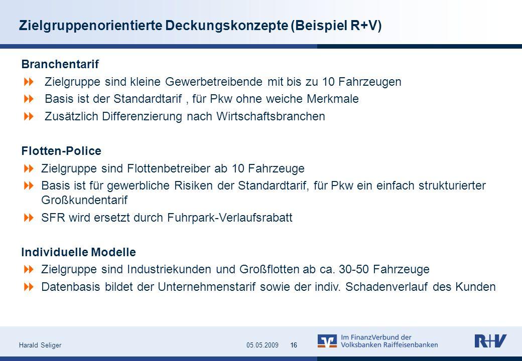 Harald Seliger1605.05.200916 Zielgruppenorientierte Deckungskonzepte (Beispiel R+V) Branchentarif Zielgruppe sind kleine Gewerbetreibende mit bis zu 1