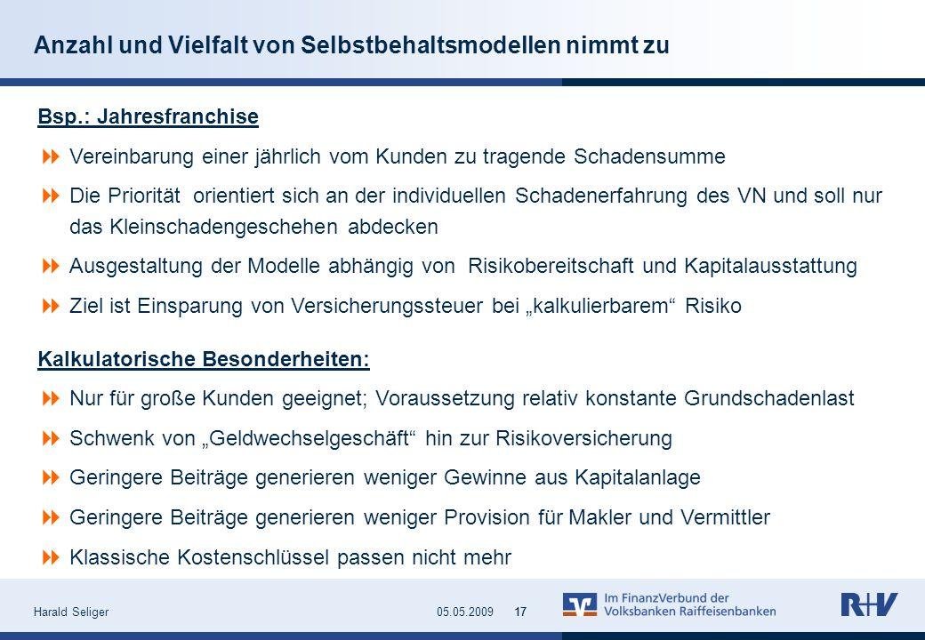 Harald Seliger1705.05.200917 Anzahl und Vielfalt von Selbstbehaltsmodellen nimmt zu Bsp.: Jahresfranchise Vereinbarung einer jährlich vom Kunden zu tr