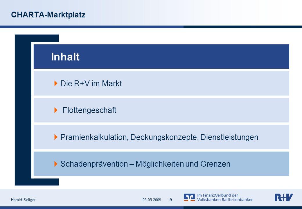 Harald Seliger1905.05.2009 CHARTA-Marktplatz Inhalt Die R+V im Markt Flottengeschäft Prämienkalkulation, Deckungskonzepte, Dienstleistungen Schadenprä