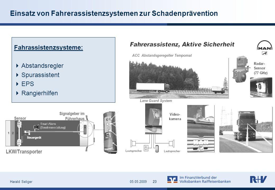 Harald Seliger2305.05.200923 Einsatz von Fahrerassistenzsystemen zur Schadenprävention Fahrassistenzsysteme: Abstandsregler Spurassistent EPS Rangierh