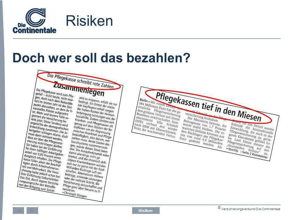 © Versicherungsverbund Die Continentale Risiken Doch wer soll das bezahlen? Risiken
