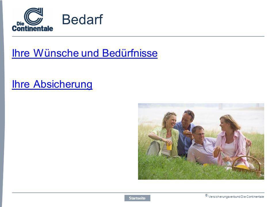 © Versicherungsverbund Die Continentale Bedarf Ihre Wünsche und Bedürfnisse Ihre Absicherung Startseite