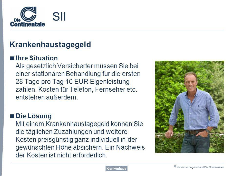 © Versicherungsverbund Die Continentale SII Krankenhaustagegeld Krankenhaus Ihre Situation Als gesetzlich Versicherter müssen Sie bei einer stationären Behandlung für die ersten 28 Tage pro Tag 10 EUR Eigenleistung zahlen.