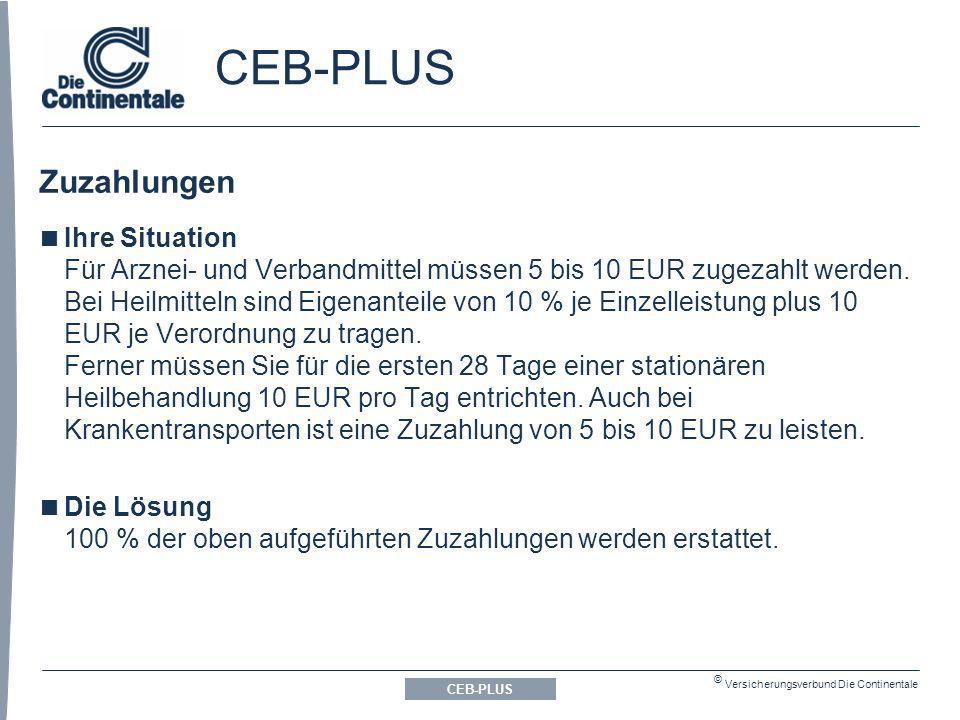 © Versicherungsverbund Die Continentale Zuzahlungen CEB-PLUS Ihre Situation Für Arznei- und Verbandmittel müssen 5 bis 10 EUR zugezahlt werden.