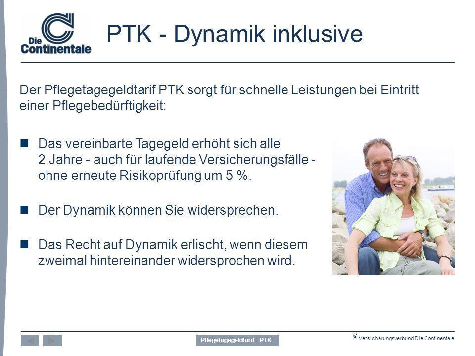 © Versicherungsverbund Die Continentale PTK - Dynamik inklusive Der Pflegetagegeldtarif PTK sorgt für schnelle Leistungen bei Eintritt einer Pflegebedürftigkeit: Das vereinbarte Tagegeld erhöht sich alle 2 Jahre - auch für laufende Versicherungsfälle - ohne erneute Risikoprüfung um 5 %.