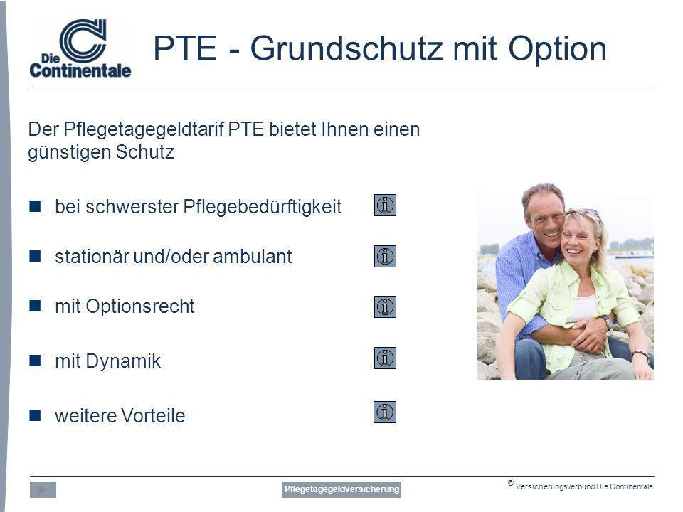 © Versicherungsverbund Die Continentale PTE - Grundschutz mit Option Der Pflegetagegeldtarif PTE bietet Ihnen einen günstigen Schutz bei schwerster Pflegebedürftigkeit stationär und/oder ambulant mit Optionsrecht mit Dynamik weitere Vorteile Pflegetagegeldversicherung