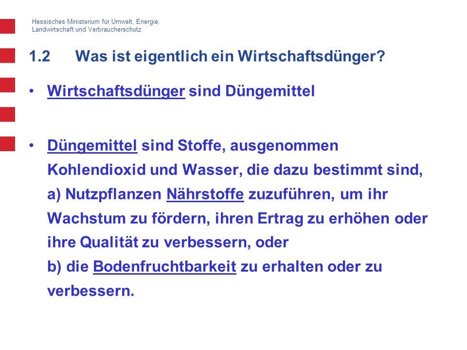 Hessisches Ministerium für Umwelt, Energie, Landwirtschaft und Verbraucherschutz 1.2Was ist eigentlich ein Wirtschaftsdünger? Wirtschaftsdünger sind D