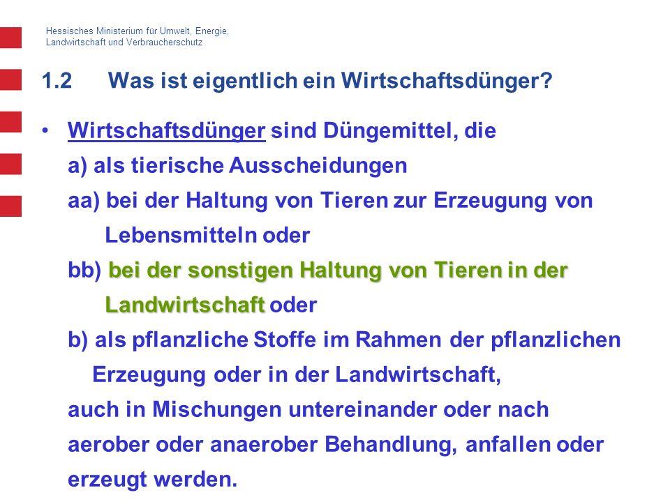 Hessisches Ministerium für Umwelt, Energie, Landwirtschaft und Verbraucherschutz 1.2Was ist eigentlich ein Wirtschaftsdünger? bei der sonstigen Haltun