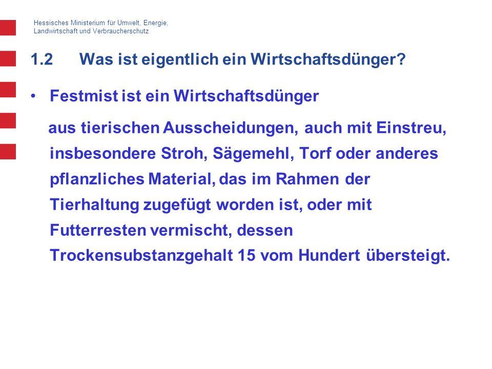 Hessisches Ministerium für Umwelt, Energie, Landwirtschaft und Verbraucherschutz 1.2Was ist eigentlich ein Wirtschaftsdünger? Festmist ist ein Wirtsch