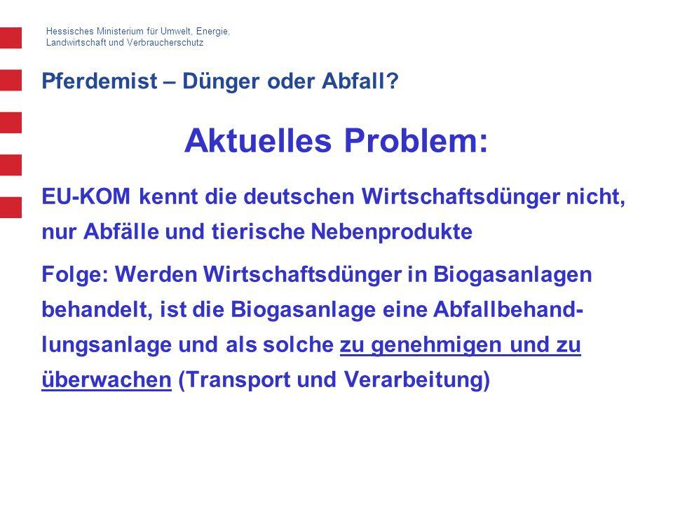 Hessisches Ministerium für Umwelt, Energie, Landwirtschaft und Verbraucherschutz Pferdemist – Dünger oder Abfall? Aktuelles Problem: EU-KOM kennt die
