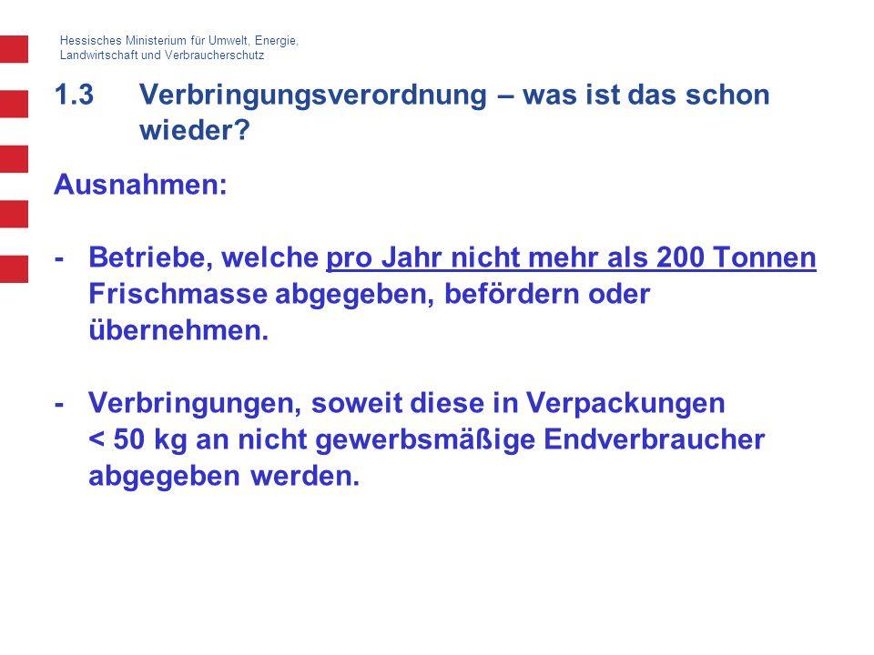 Hessisches Ministerium für Umwelt, Energie, Landwirtschaft und Verbraucherschutz 1.3Verbringungsverordnung – was ist das schon wieder? Ausnahmen: -Bet