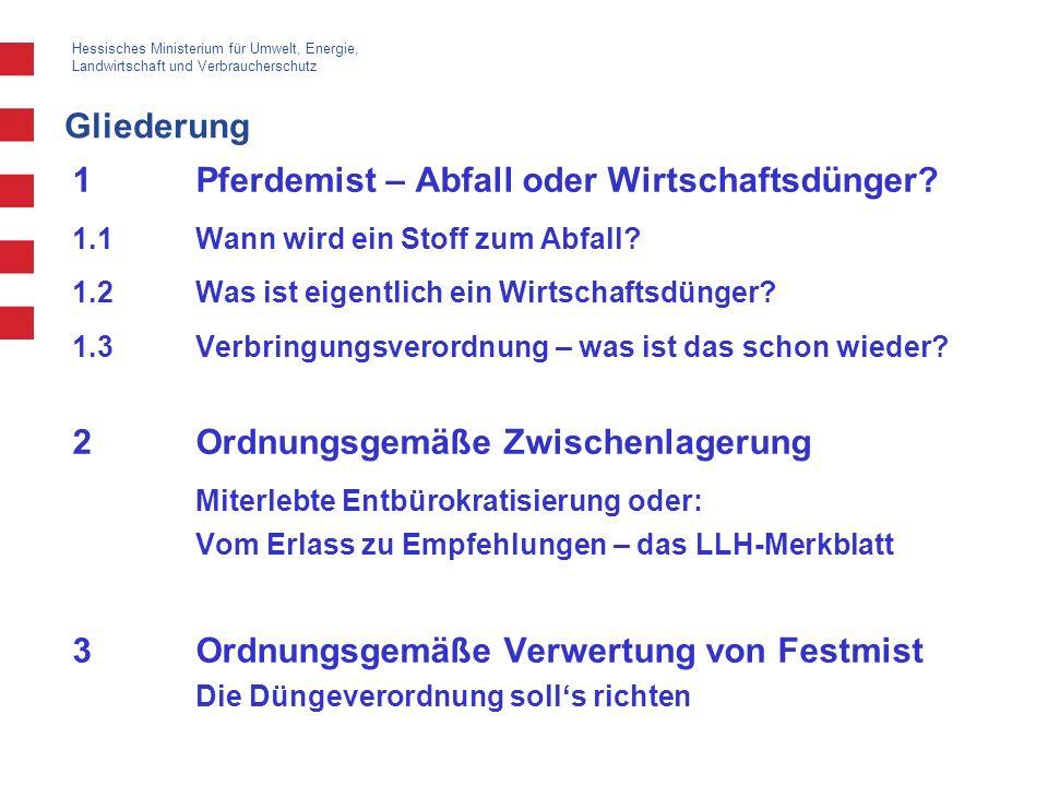 Hessisches Ministerium für Umwelt, Energie, Landwirtschaft und Verbraucherschutz Gliederung 1Pferdemist – Abfall oder Wirtschaftsdünger? 1.1Wann wird