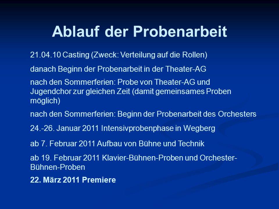 Ablauf der Probenarbeit 21.04.10 Casting (Zweck: Verteilung auf die Rollen) danach Beginn der Probenarbeit in der Theater-AG nach den Sommerferien: Pr