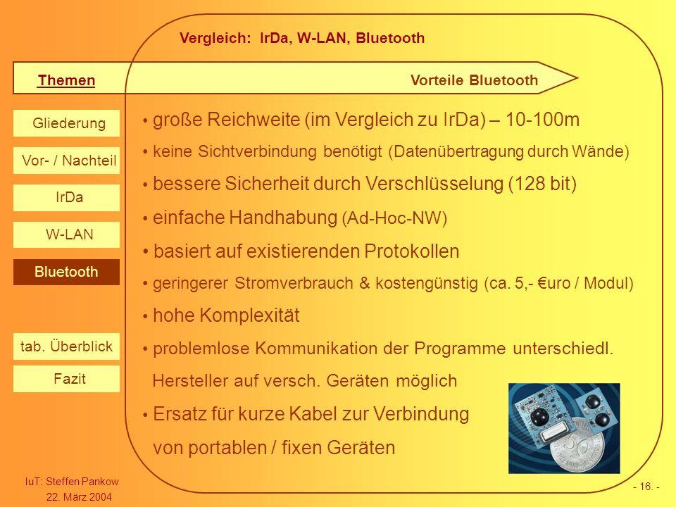 Vergleich: IrDa, W-LAN, Bluetooth Themen IuT: Steffen Pankow 22. März 2004 Gliederung IrDa W-LAN Bluetooth Vor- / Nachteil Fazit tab. Überblick - 16.