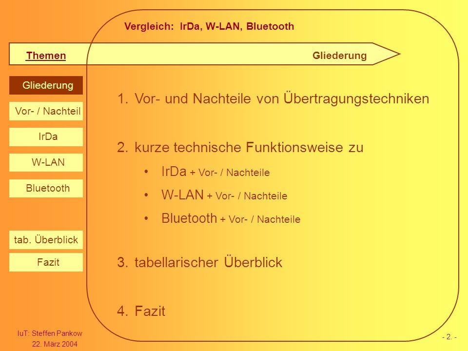 Vergleich: IrDa, W-LAN, Bluetooth Themen IuT: Steffen Pankow 22. März 2004 Gliederung IrDa W-LAN Bluetooth Vor- / Nachteil Fazit tab. Überblick - 2. -